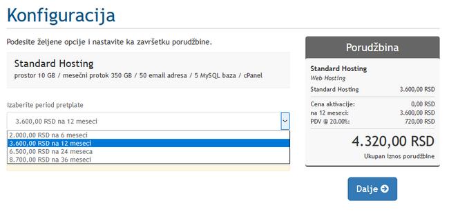konfiguracija hostinga