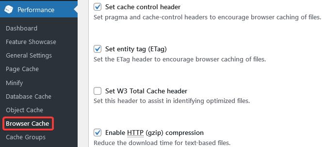 W3TC Browser Cache Podesavanja